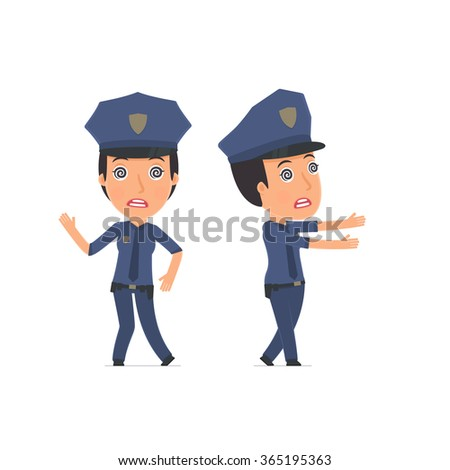 Crazy and Deranged Character Constabulary in strange pose under hypnosis. for use in presentations, etc.