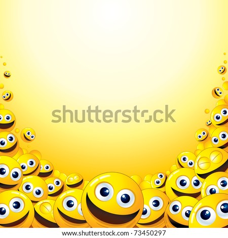 Crazy Background with heap of Yellow Smileys, template for your fun text or design - stock vector
