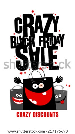 Crazy black friday sale design with shopping bags. - stock vector