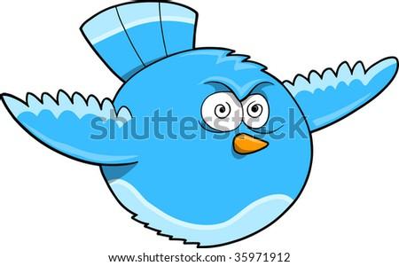 Crazy Blue Bird Vector Illustration - stock vector
