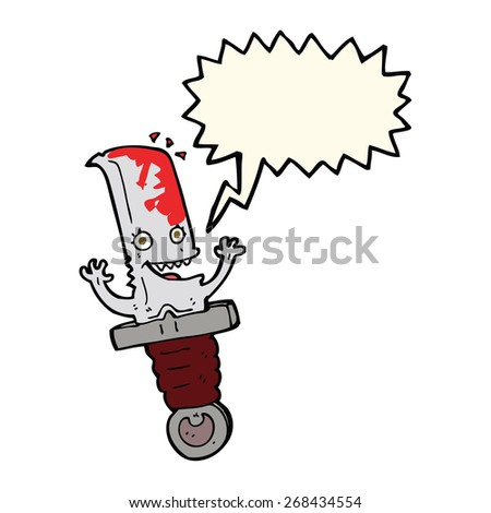 crazy cartoon knife character with speech bubble - stock vector