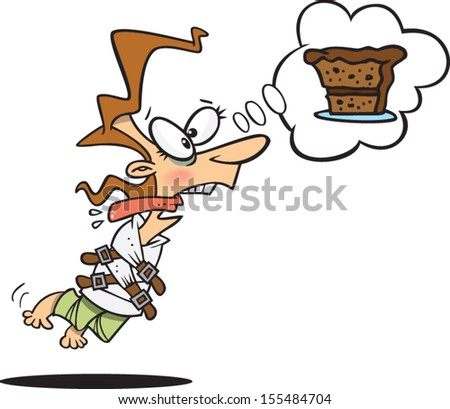Crazy cartoon woman thinking about cake - stock vector