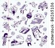 Crazy doodles school notebook. Vector illustration. - stock vector