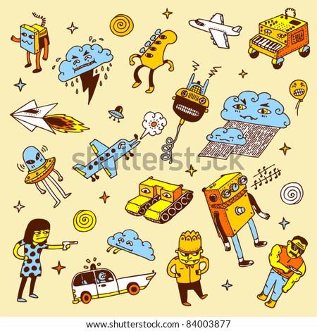 Crazy doodles. Vector illustration. - stock vector