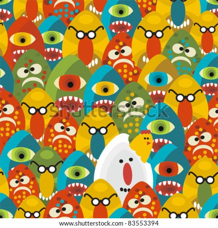 Crazy eggs monsters seamless pattern. Vector texture for your background. - stock vector