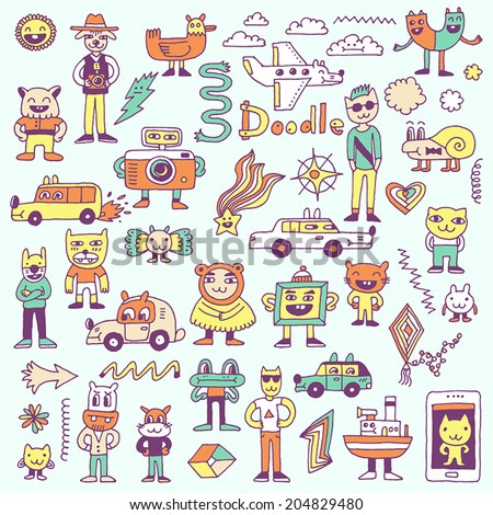 Crazy funny colorful doodles set. Hand drawn vector illustration.