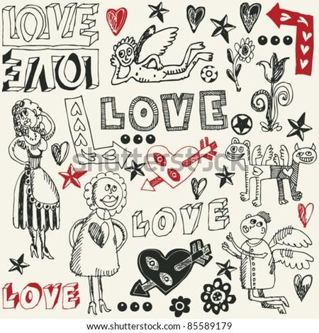 crazy love doodles, hand drawn design elements - stock vector
