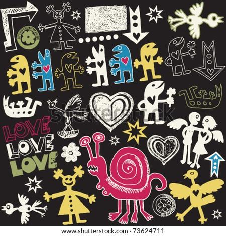 crazy love doodles, vector design elements - stock vector