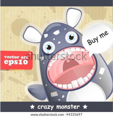 crazy monster - stock vector