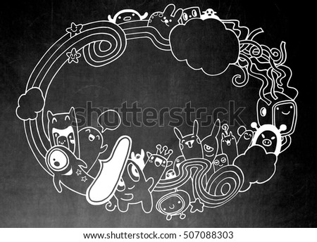 Crazy monster Social with copy space,doodle drawing style.Vector illustration