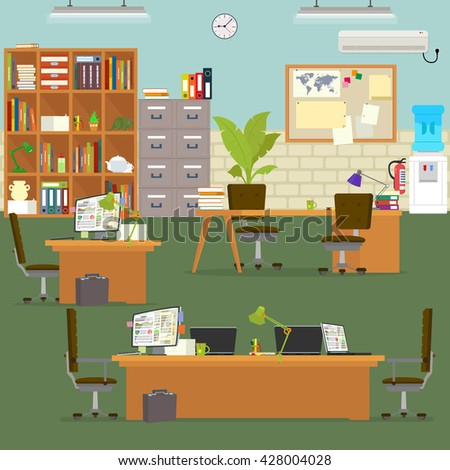 crazy office. working atmosphere in the office. coordinated work in friendly team in the office. modern office. vector illustration. open space office building with working people. open office. - stock vector