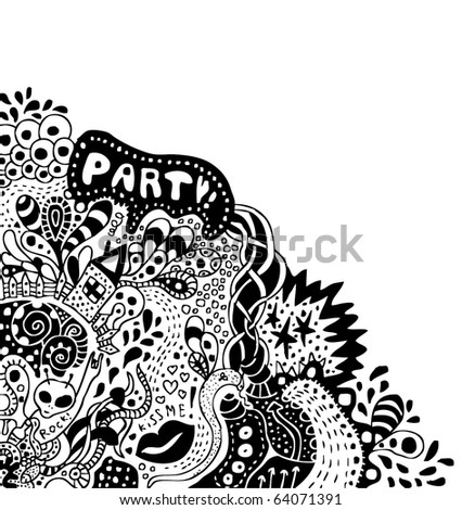 crazy psychedelic hand-drawn doodle with copy space - stock vector
