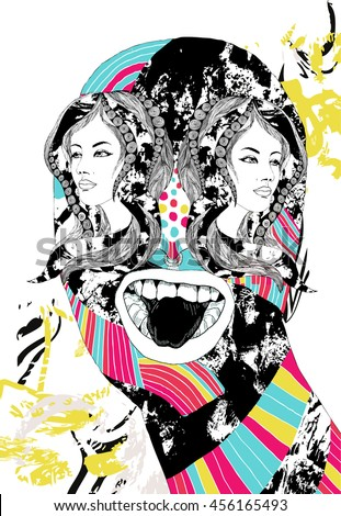 crazy psychedelic illustration with mutant monster girl heads instead of eyes