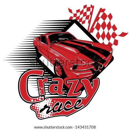 Crazy race - stock vector