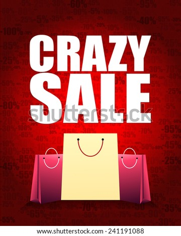 crazy sale design and shopping bag with percentage red gradient background. - stock vector