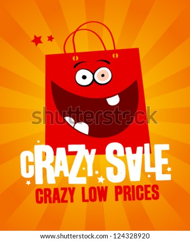 Crazy sale design template, with fun red bag. - stock vector