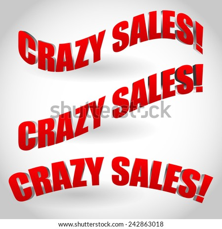 Crazy sales text banners - stock vector
