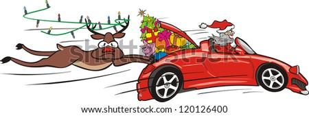 crazy santa in convertible - stock vector