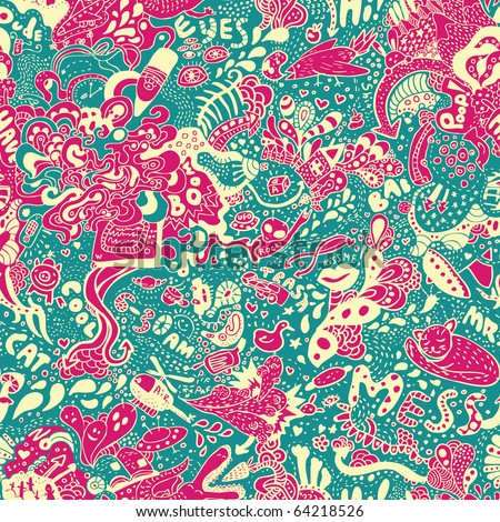 crazy seamless doodle pattern. Fits perfectly, very cool hand-drawn image,  colors in CMYK - stock vector
