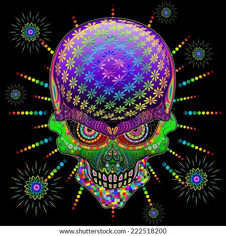 Crazy Skull Psychedelic Explosion - stock vector
