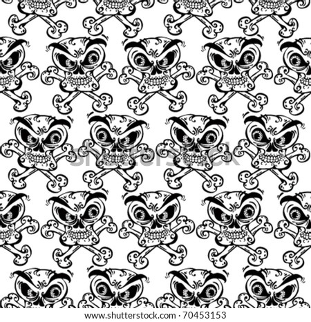 Crazy skulls seamless pattern. Skulls with angry look and crossbones. Black and white version. Vector background. - stock vector