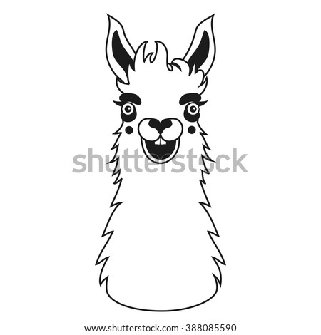 Crazy Smiley Face Llama Vector Black Stock Vector HD (Royalty Free on llama health, llama jewelry, llama lamas easter, llama vine, llama llama red pajama, llama photography,