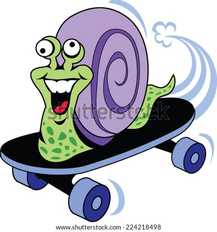 crazy snail riding a skateboard