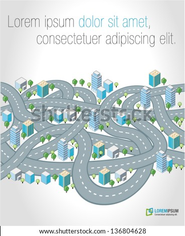 Crazy streets, highways and junctions of a isometric city - stock vector