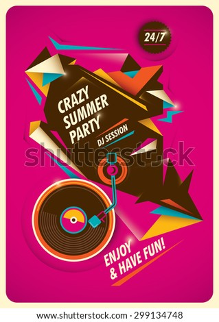 Crazy summer party poster. Vector illustration. - stock vector