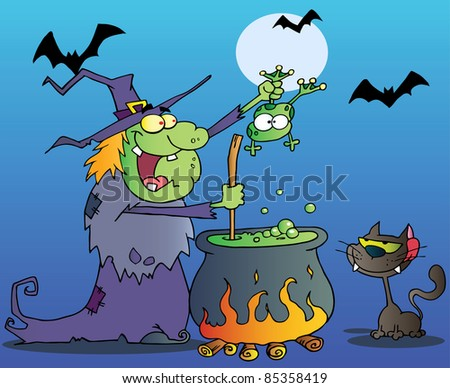 Crazy Witch With Black Cat Holding A Frog And Preparing A Potion In Night - stock vector