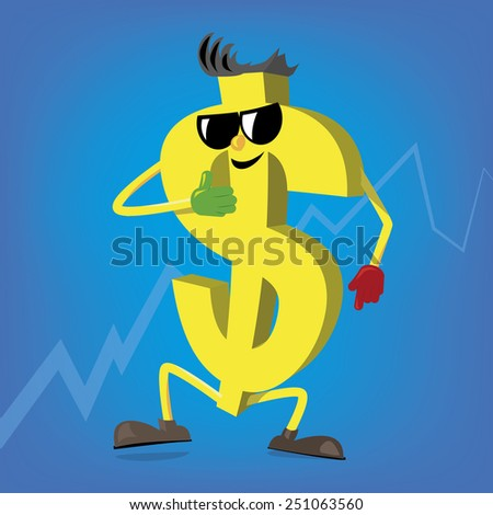 Crazy yellow dollar affects exchange rates - stock vector