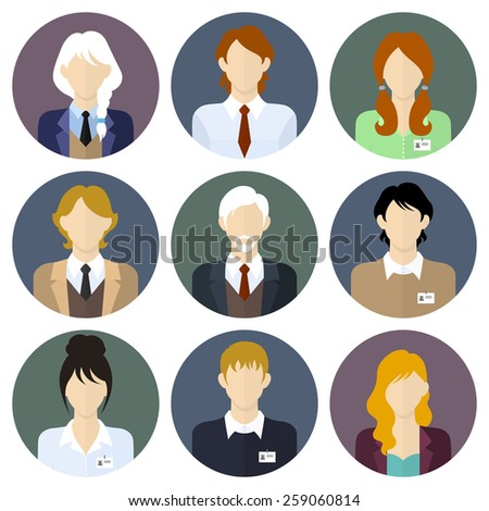 Crcle business team icons set in flat style