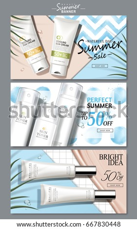cream and light blue colored cosmetic theme web banners with product pictures, 3d illustration