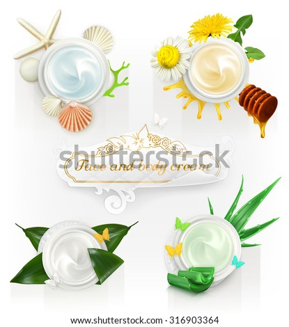 Cream concepts, set of vector illustrations - stock vector