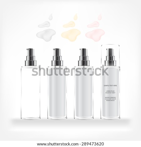 Cream container isolated on white background. Cosmetic glass bottle for cream, gel. Beauty product package, vector illustration - stock vector