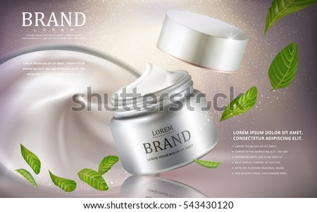 Cream cosmetic ads, silver cream container with green leaves ingredients isolated on glitter background, 3d illustration