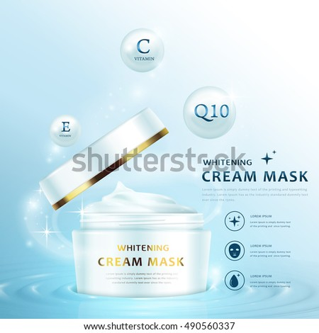Cream mask ad template, blank cream container design with open lid, 3D illustration isolated on light blue background