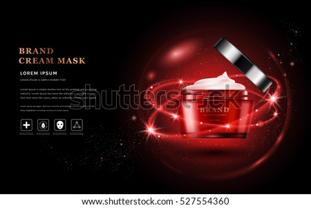 Cream mask ads, red packaging skincare product in 3D illustration, glitter particles elements