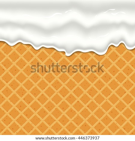 cream or yogurt dripping down seamless texture of waffles.