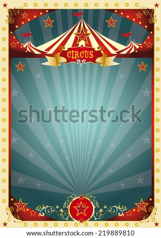 cream retro circus background. A retro circus poster for your entertainment. - stock vector