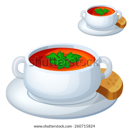 Cream soup isolated on white background. Detailed Vector Icon. Series of food and drink and ingredients for cooking.  - stock vector
