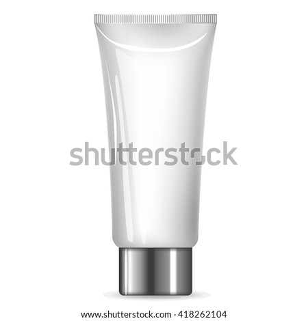 Cream tube with a silver cap full vector