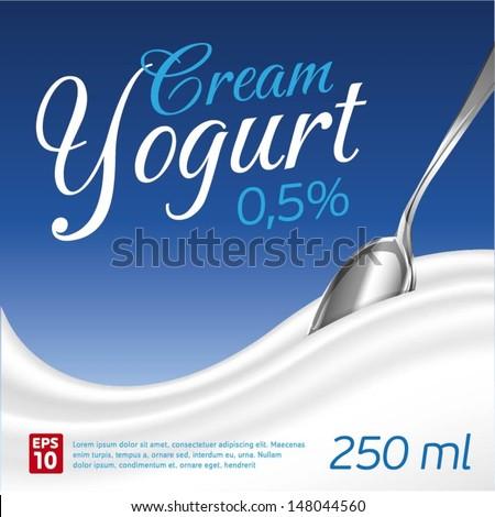 Cream Yogurt wave background - stock vector