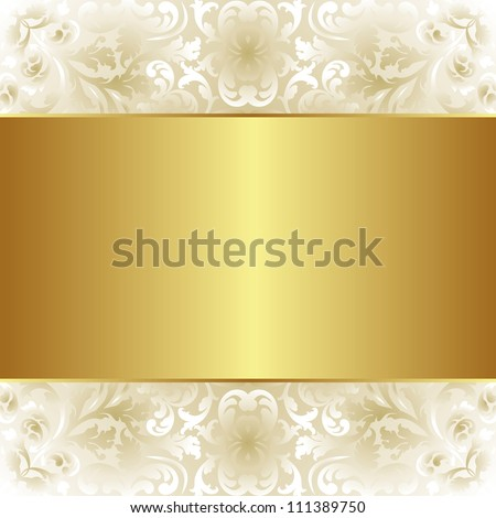 creamy and gold background with floral ornaments - stock vector