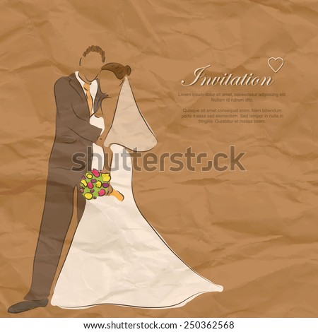 creased paper invitation wedding card - stock vector