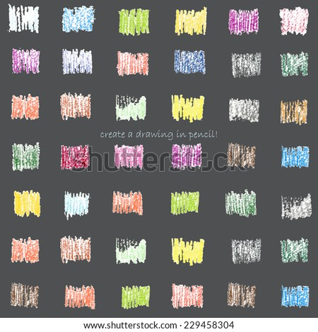 Create a drawing in pencil. Colorful hatch in creative texture on the black background. Vector illustration - stock vector