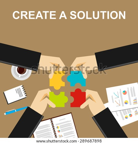 Create a solution illustration.  Making a solution concept. Business people with puzzle pieces. Flat design illustration concepts for teamwork, discussion, business, career, strategy, decision making. - stock vector