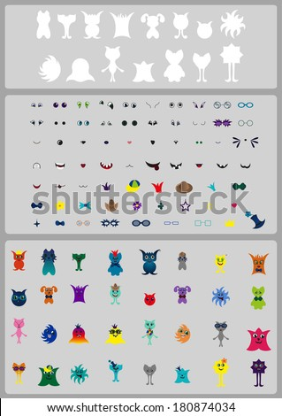 Create Character & Monster! Creation Kit. Create the bright and amusing monsters and characters! + 32 ready characters, EPS10 - stock vector