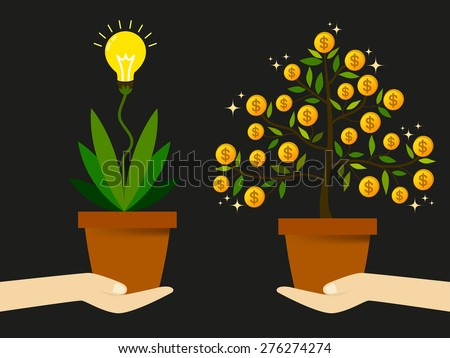 Create new ideas to find a way to generate revenue to increase profit from business. - stock vector