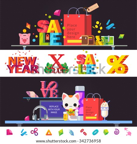 Create workplace. Christmas shopping, sales in stores. Items and objects: table, signs, shopping bag, piggy bank, wallet, money, computer, lamp. Big vector flat  illustrations and backgrounds set - stock vector